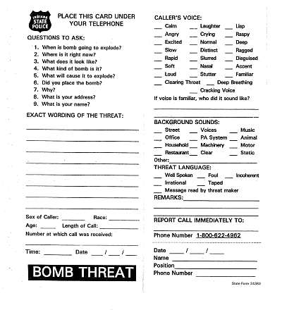 bomb threat card